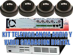 KIT TELEVIGILANCIA AUDIO Y VIDEO CON GRABACION DIGITAL 24 h
