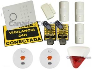 1111138 Kit alarma inalámbrica Aurora Touch G5 detección de movimiento, humos y sirena exterior