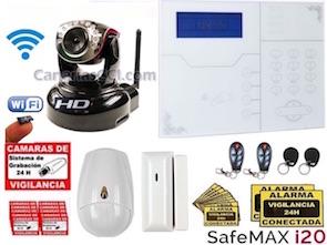 1111311 Alarma IP y GSM Safemax i20 con cámara IP WiFi HD con movimiento y grabación