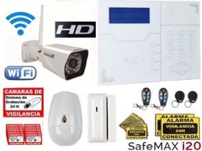 1111313 Kit alarma GSM IP Safemax i20 con cámara IP HD WiFI exterior IP67