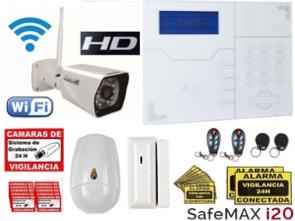 1111313 Kit alarma GSM IP Safemax i20 con cámara IP HD WiFI exterior IP67