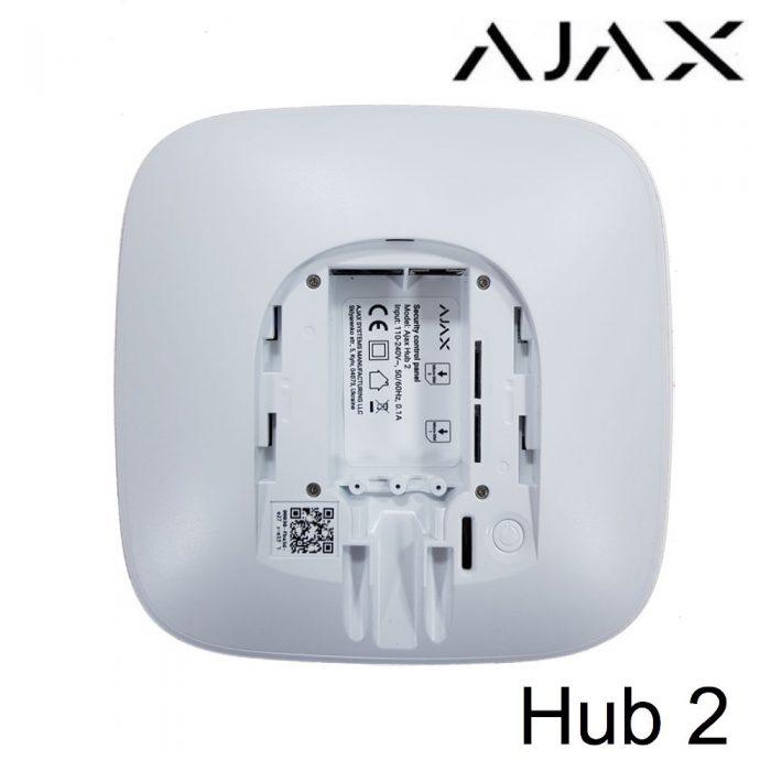 Parte trasera, centralita de alarma Ajax Hub 2 con Ethernet y Dual SIM
