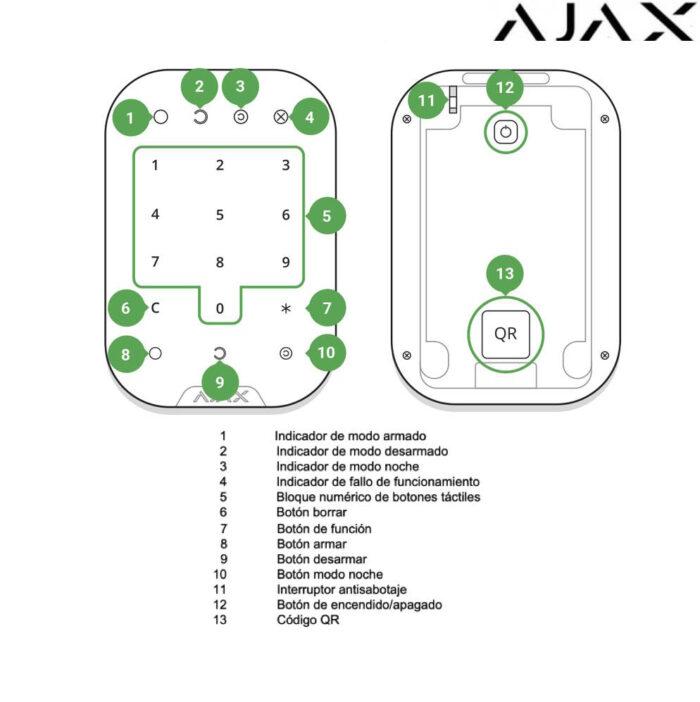 dibujo Teclado táctil inalámbrico Ajax KeyPad