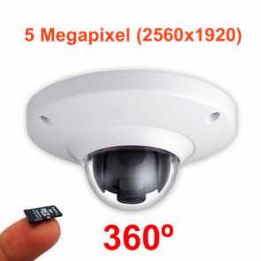 Cámara IP 5Mp antivandálica con lente ojo de pez 360º y grabación