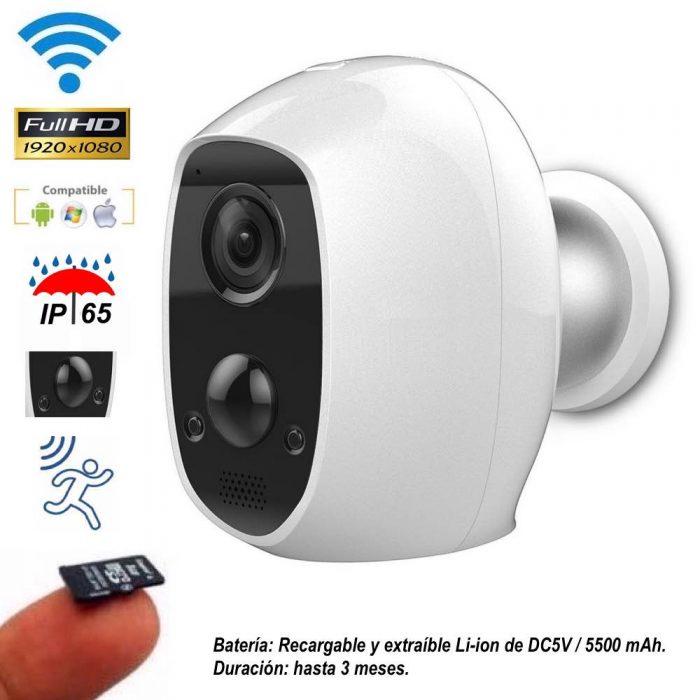 Cámara IP WiFi 1080P con batería recargable