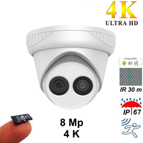 Cámara domo IP 8Mp 4K IP67 lente 2.8 mm IR 30 m