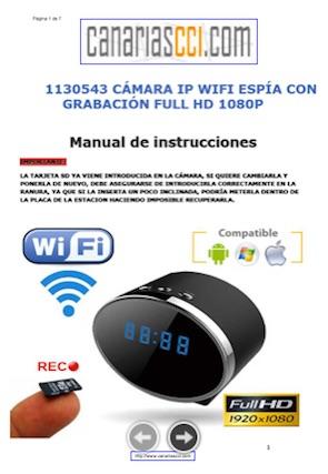 1130543 Manual cámara espía reloj IP WiFi FullHD con grabación y visión nocturna