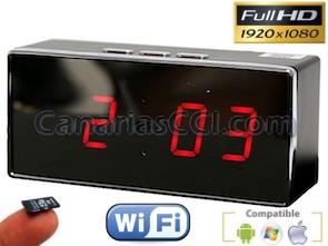 Cámara espía reloj sobremesa IP Wifi 1080P con visión nocturna y grabación en tarjeta micro SD