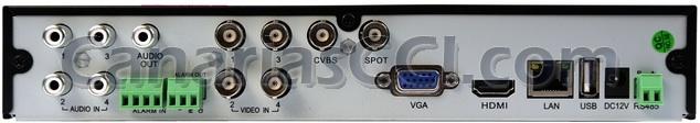 parte trasera Grabador digital 960H H.264 videovigilancia IP para 4 cámaras con sistema de alarma