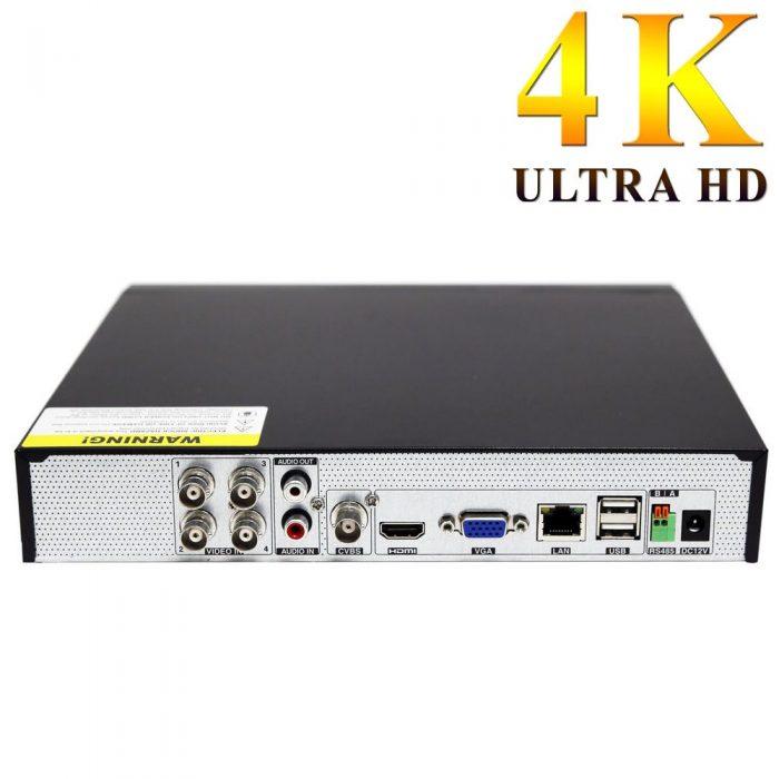Grabador 4K Ultra HD H265+ para 4 cámaras cableadas y 2 cámaras IP parte trasera
