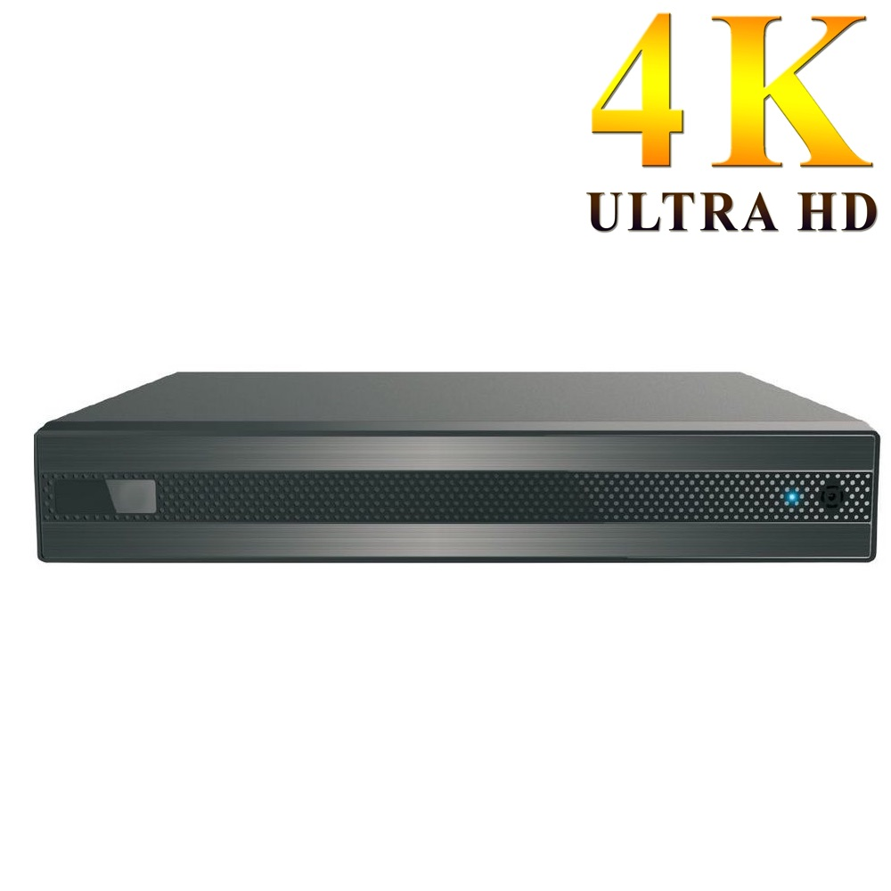 Grabador 4K Ultra HD H265+ para 8 cámaras cableadas y 8 cámaras IP