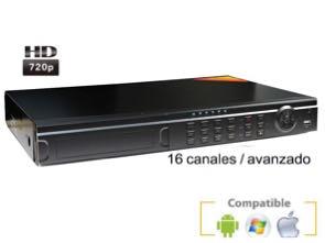 Grabador digital videovigilancia IP HD 720P para 16 cámaras con sistema de alarma
