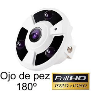 Cámara de vigilancia CCTV Full-HD ojo de pez 180º con visión nocturna 20 m 1134334