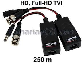 1180431 Vídeo Balun HD-TVI RJ45 a BNC y alimentación para cable UTP 250 m