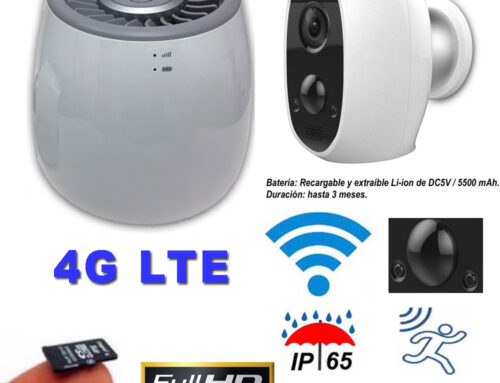 Kit ampliable videovigilancia IP, 4G LTE, Full-HD, Wifi, para exterior e interior