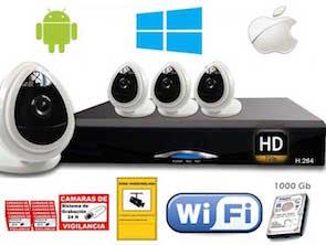 1220301 Kit videovigilancia HD inalámbrico 4 cámaras IP interior