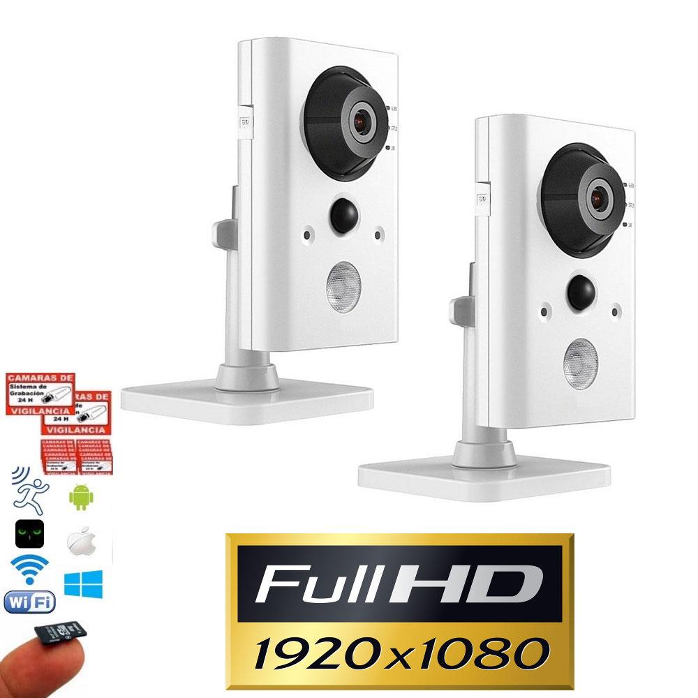 Kit 2 cámaras IP WiFi Full-HD 1080P con visión nocturna, sensor PIR y grabación en microSD