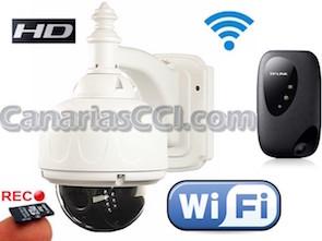 1220376 Kit cámara IP PTZ IR WiFi IP66 con grabación SD y Router inalámbrico 3G