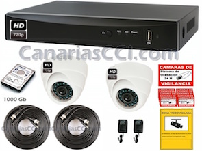 1220603 Kit videovigilancia HD 720P con grabación digital y 2 cámaras ampliable