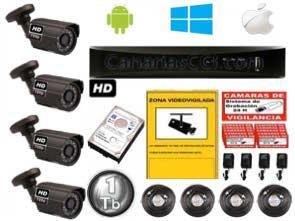 Kit vídeo vigilancia HD 720P con 4 cámaras para exterior 1220605