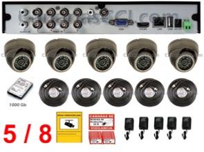 1220709 Kit de videovigilancia ampliable 5 cámaras 1000 TVL int ext