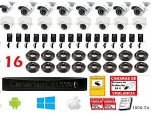 1220807 Kit videovigilancia 16 cámaras y grabación digital 960H exterior interior