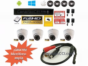 1221101 Kit videovigilancia 1080P Full-HD con audio omnidireccional y 4 cámaras 1080P