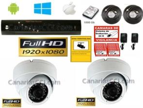 Kit completo videovigilancia Full-HD-TVI 2 cámaras interior