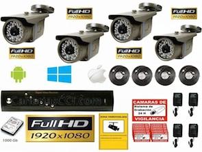 Kit videovigilancia Full HD TVI 4 cámaras exterior y grabación digital