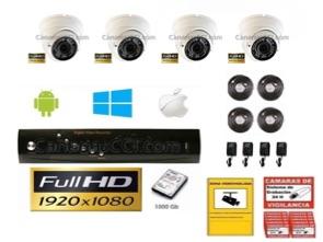 1221108 Kit de videovigilancia Full-HD TVI int&ext 4 cámaras varifocal con Leds infrarrojos 30 m