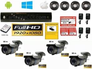 1221110 Kit videovigilancia Full-HD TVI 4 cámaras exterior 60 m