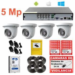 Kit de videovigilancia CCTV o por Internet UHD 5 Mp 4 cámaras int&ext