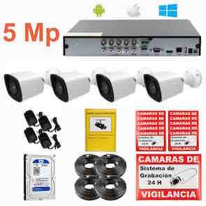 Kit de videovigilancia CCTV o por Internet UHD 5 Mp 4 cámaras exterior