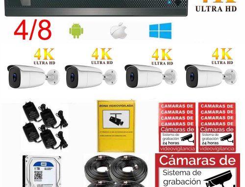 Kit videovigilancia 4K UHD ampliable, para exterior