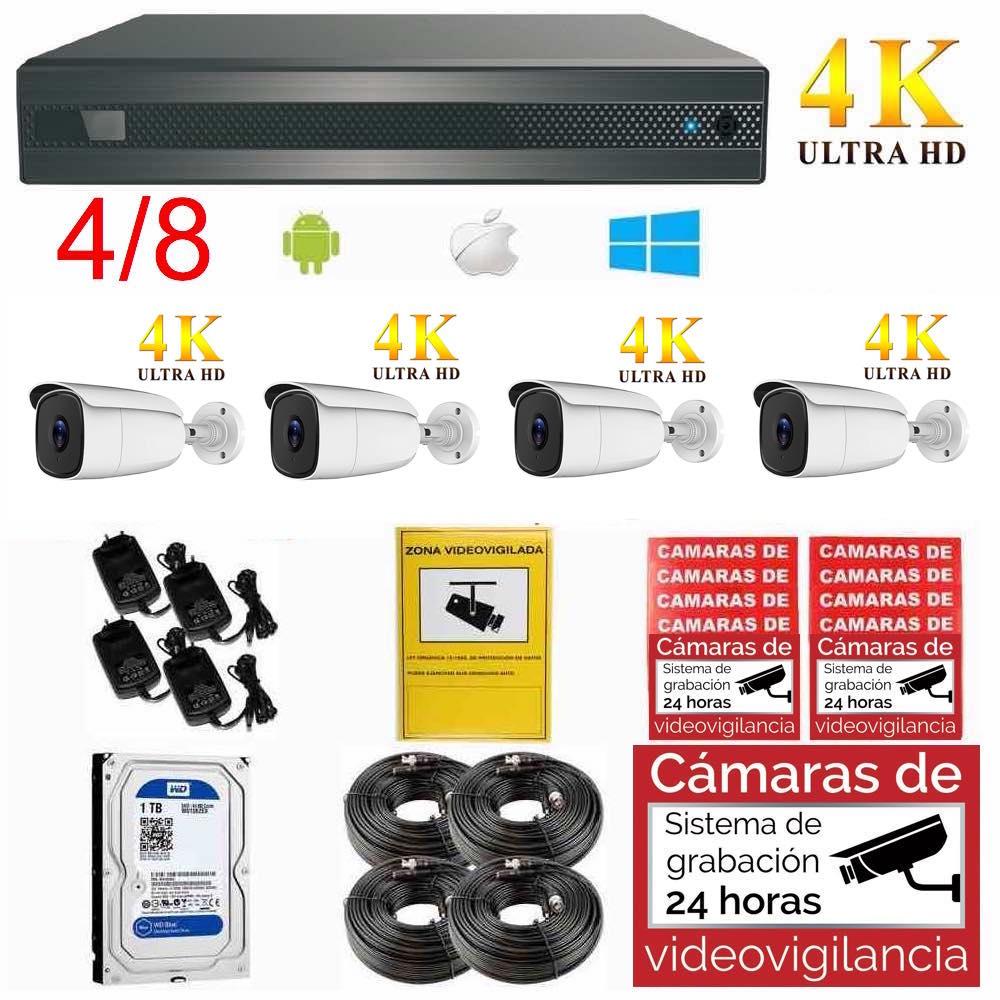 Kit videovigilancia 4K UHD para exterior, ampliable