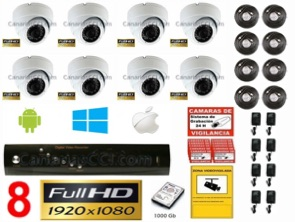 1221200 Kit videovigilancia 8 cámaras interior 1920 x 1080 Full-HD TVI
