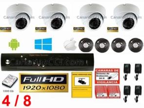 1221202 Kit videovigilancia Full-HD 1080P de 4 cámaras ampliable hasta 8 cámaras