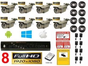 1221204 Kit videovigilancia Full-HD TVI 8 cámaras exterior