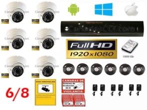1221208 Kit de videovigilancia Full-HD TVI ampliable interior exterior 6 cámaras Leds infrarrojos 30 m