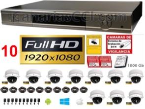 1221306 Kit videovigilancia Full-HD TVI 10 cámaras domo IR 1080P ampliable a 16 exterior interior
