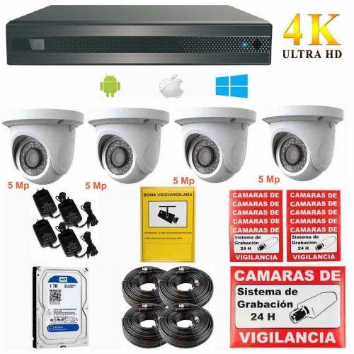 Kit de videovigilancia 4K UHD con 4 cámaras de 5Mp