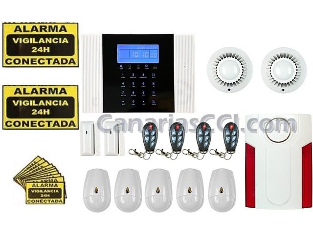 f3e1bf5d110 Kit alarma inalámbrica SAFEMAX G8 línea fija y GSM con detección de  movimiento, humos y sirena exterior